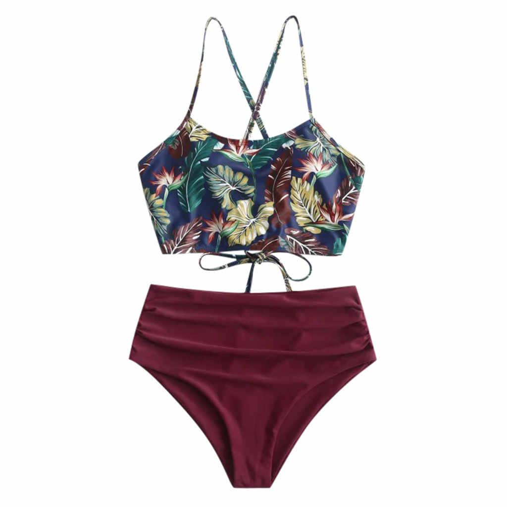 Brasil Baju Renang Wanita High Waist Bikini Besar Wanita Pakaian renang Pakaian Renang Bunga Vintage Bather Pakaian Renang 2020 Seksi Biquini #