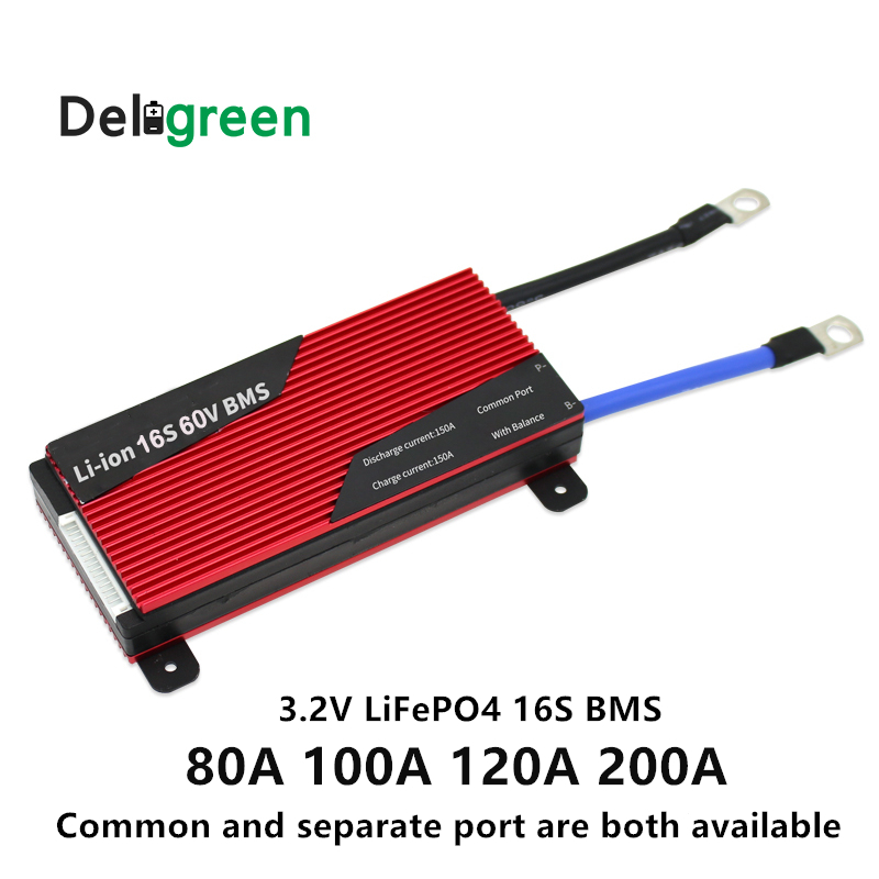 Deligreen 16S 48V 80A 100A 120A 200A PCM/PCB/BMS for 3.2V LiFePO4 battery pack DIY 18650 Lithion Li Ion with Balance function