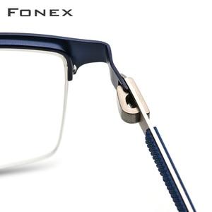Image 4 - FONEX סגסוגת משקפיים מסגרת גברים חדש זכר כיכר אור מרשם משקפיים חצי קוצר ראיה אופטי מסגרות ללא בורג Eyewear 9843