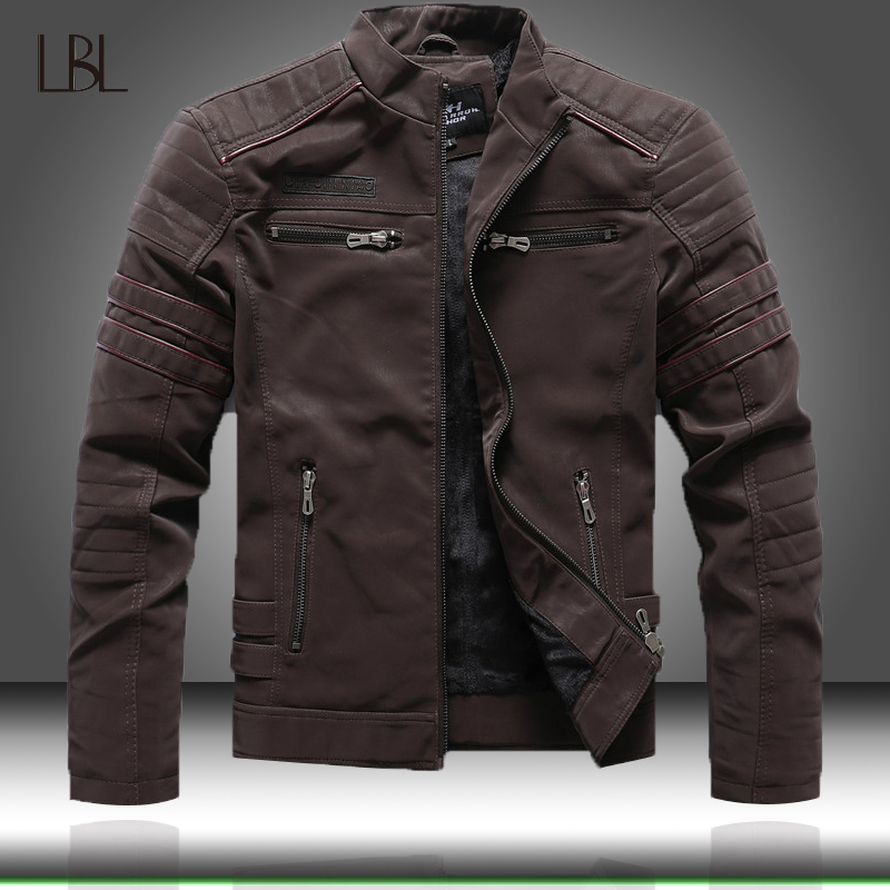 Motorcycle Jacket Coats Winter Men's Fashion Casual Autumn Slim Collar Stand PU High-Quality