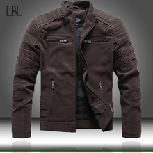 Motorcycle Jacket Coats Collar Autumn Winter Men's High-Quality Fashion Casual Slim Stand
