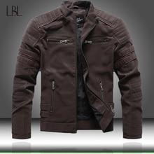 Chaqueta de cuero de PU para hombre, chaqueta de moto informal con cuello levantado, entallada, de alta calidad, para otoño e invierno, 2020