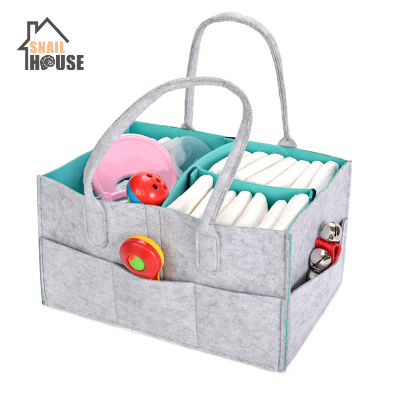 Snailhouse Portable Foldable Felt Diaper Storage Bag Multifunction Kids Clothes Handbag For Baby Diaper Organizer Mom Nappy Bags