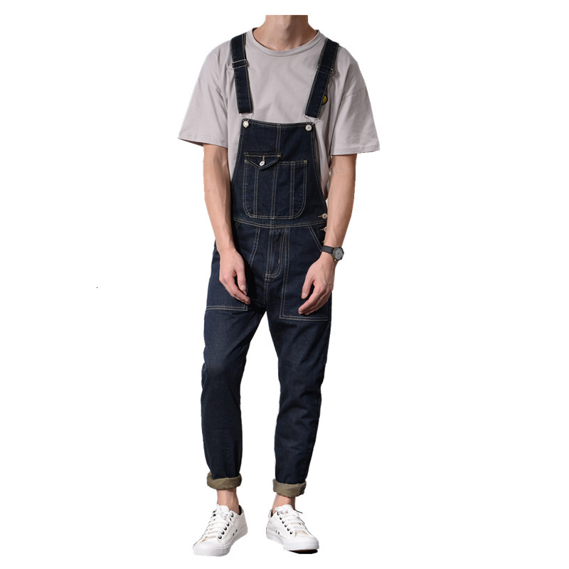 2020 Fashion New Mens Cargo Slim Fit Skinny Jeans Overall Scratch Detachable Suspenders Pants Size M-2XL Free Shipping