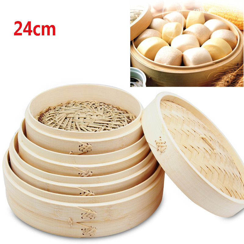 24cm Durable Bamboo Steamer With Lid Chinese Kitchen Cookware Fish Rice Dim Sum Snack Basket Rice Pasta Cooker Set