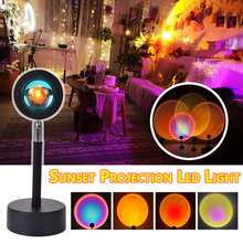 Led Light Rainbow Sunset Projection 180 Degree Rotation Rainbow Projection Lamp For Home Party Living Room Bedroom Lamps