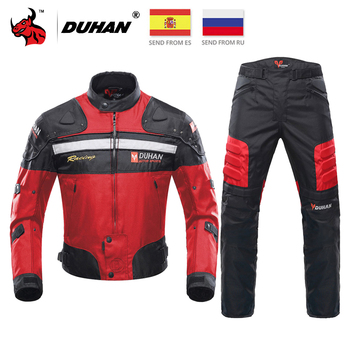 DUHAN motocykl kurtka mężczyźni Motocross kurtka do jazdy wiatroszczelna ochronny sprzęt Off-wyścigi drogowe motocykl odzież Chaqueta Moto tanie i dobre opinie CN (pochodzenie) Elastan i nylonu D-020+DK-02 Windproof Kurtki Jacket Pants Set M L XL XXL 3XL Black Gray Red Blue