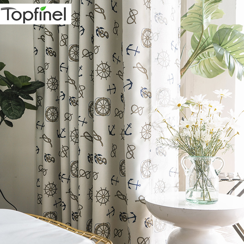 Topfinel Helm And Anchor Navigation Cartoon Children Blackout Curtains For Living Room Kids Bedroom Decorative Door Curtains