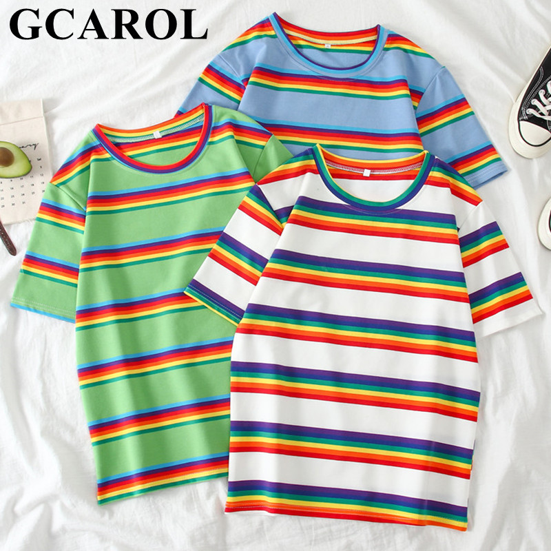 GCAROL Spring Summer Women Rainbow Stripes T-shirts Oversize Girls Streetwear Candy Tops Stretch Harajuku Tees Aesthetic Clothes