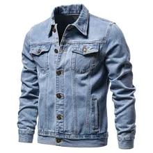 새로운 2020 코 튼 데님 자 켓 남자 캐주얼 단색 옷깃 단일 브레스트 청바지 자 켓 남자 슬림 맞는 품질 망 재킷