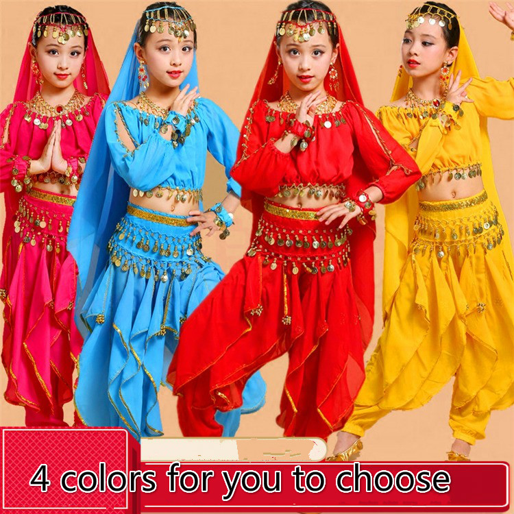 New Children Indian Dance Performance Dress Belly Dance National Bollywood Dance Costumes For Girls Belly Dancewear Clothing Set
