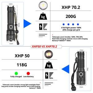 Image 2 - Taşınabilir Ultra güçlü XHP70 LED el feneri 18650 el feneri XLamp XHP50 USB şarj edilebilir taktik ışık 26650 yakınlaştırma meşale