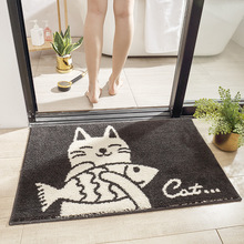 Japanese Cartoon Cat Home Bath Mat Non-slip Bathroom Carpet Soft Flocking Rug Mat Kitchen Toilet Floor Decor