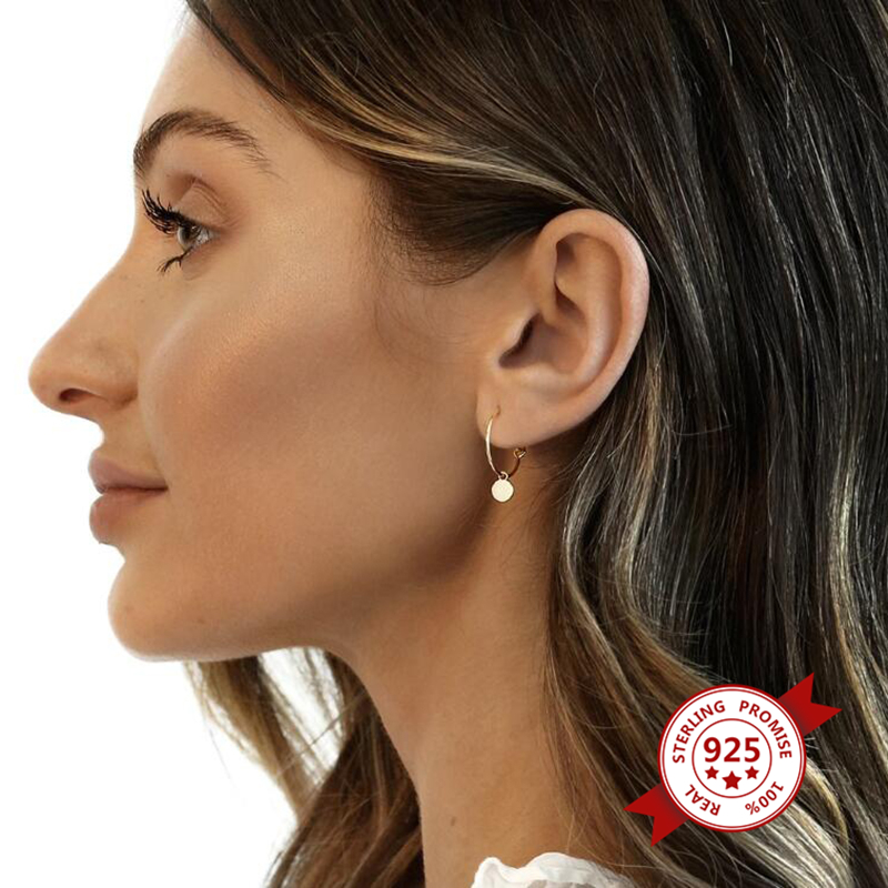 High Quality 925 Sterling Silver Lightweight Hoop Earrings for Women Simple Gold plated Round Circle Earrings Fashion Jewelry