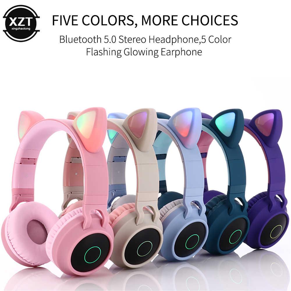 Cute Cat Ear Bluetooth 5 0 Headphones Foldable On Ear Stereo Wireless Headset With Mic Led Light Fm Radio Tf Card Headphone R60 Aliexpress
