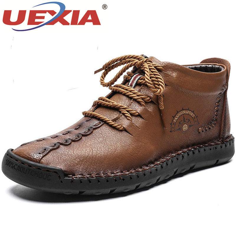 UEXIA New Outdoor <font><b>Men's</b></font> Boots <font><b>Winter</b></font> With Fur Warm Snow Boots <font><b>Men</b></font> <font><b>Shoes</b></font> Footwear Fashion Male <font><b>Winter</b></font> Leather Ankle Size 38-48 image