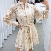 High Quality 2021 Autumn Runway Long Dress Women Single-breasted Lantern Sleeves Hollow Embroidered Lace Sashes Dress