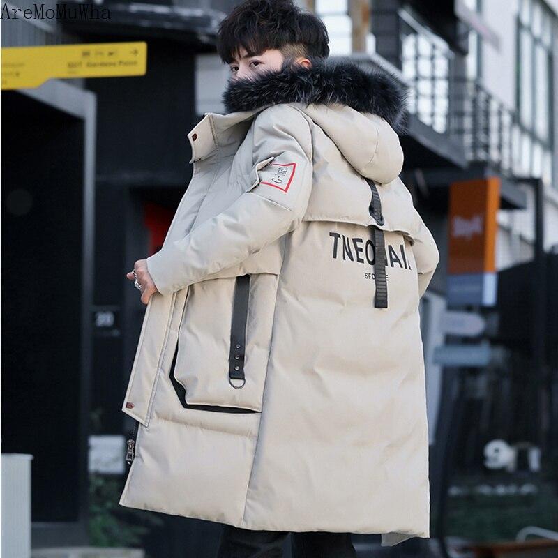 Aremomuwha jaqueta de inverno dos homens novo casaco de algodão de inverno longo seção tendência juventude roupas de camuflagem bonito jaqueta casual