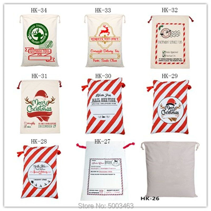 Wholesale Santa Sacks 30pcs/lot Christmas Bag Party Large Canvas Bag Drawstring Santa Sack Gift Bag Burlap 34 Styles