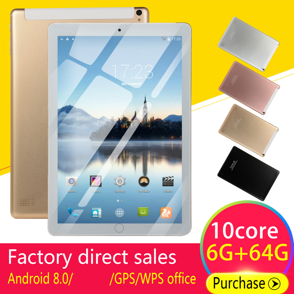 2020 10 Inch Tablet Android 8.0 Quad Core 4GB RAM 64GB ROM  Screen Tablets 10 4G Phone Call Wifi GPS Bluetooth Video
