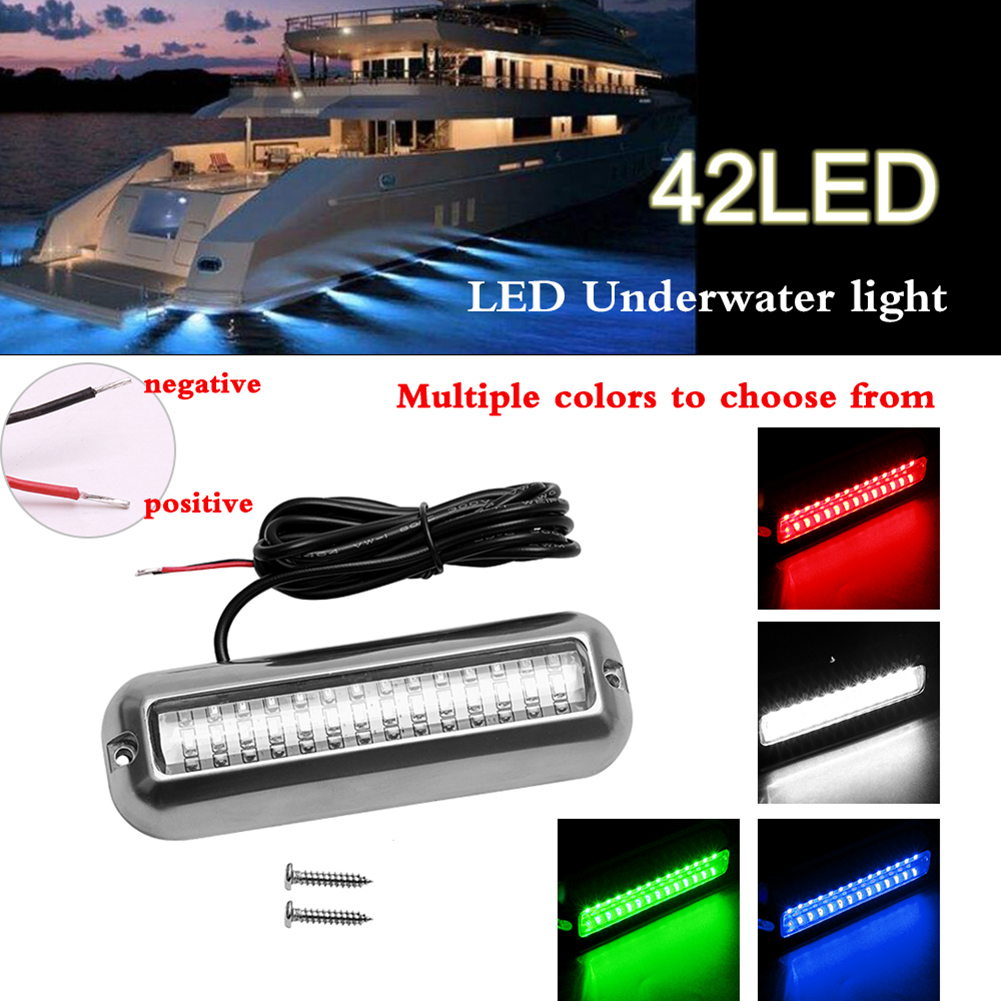 50W 42 LEDs Boat Transom Light Stainless Steel Waterproof Marine Boat Underwater Pontoon Transom Light Universal