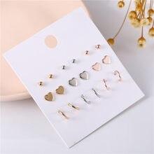 9 pares/set bonito misturado ouro cor prata coração círculo brinco define feminino piercing brinco brinco jóias para presente de festa menina