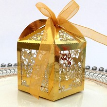 50pcs Love Heart Wedding Candy Boxes Favors And Gifts Party Decorations White/Pink Laser Cut Gift Box