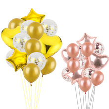 14pcs 12inch Confetti Latex Balloons With star heart Foil Balloon Helium Globos Birthday Party Wedding Decoration Party Supplies 12inch gold latex balloons heart foil balloons confetti balloon patry balloons wedding birthday party decor globos supplies