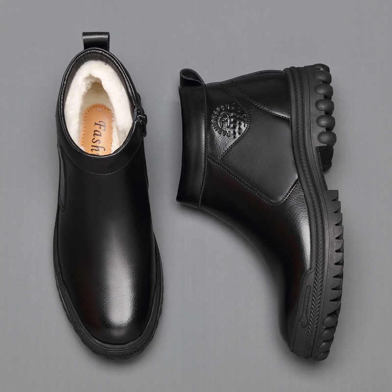 Kalınlaşmak sıcak yün kar botları erkekler moda inek deri kış ayakkabı platformu kürk bileğe kadar bot beyefendi resmi elbise botas masculina
