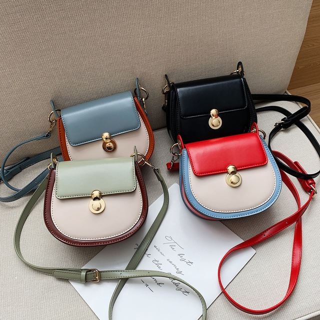 PU Leather Contrast Color Crossbody Bags For Women 2020