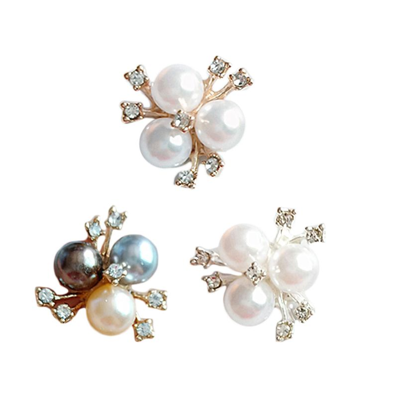 10Pcs/Set Faux Pearl Rhinestone Flower Embellishments Brooch Flatback Buttons For DIY Crafts Wedding Party Accessories