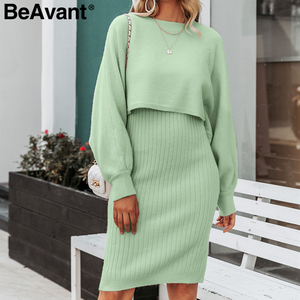 Image 2 - BeAvant Elegant 2 pieces women knitted dress Autumn winter ladies pullover work wear sweater suit Solid bodycon sweater dress