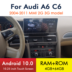 Android 10 4+64 8 core For Audi A6 C6 4F 2004~2011 MMI 2G 3G Car Multimedia player GPS Navigation Stereo wireless carplay