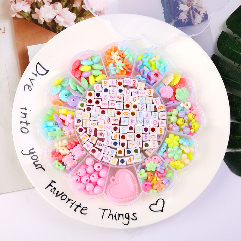 480pcs/500g Acrylic Beads Set Children DIY Flower Box Mixed Color Spacer Beads With Rope Toy Bracelet Necklace Jewelry DIY Craft
