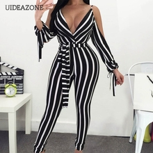 UIDEAZONE Deep V-Neck Striped Spaghetti Strap Jumpsuits Backless Women Sexy Line Contrast Color Sports Jumpsuit Ladies Overalls