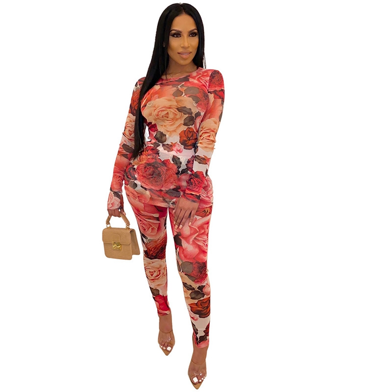 Autumn Sexy 2 Piece Set Women Floral Mesh Two Piece Set Top And Pants Party Club Outfits Festival Bodycon Matching Set Tracksuit