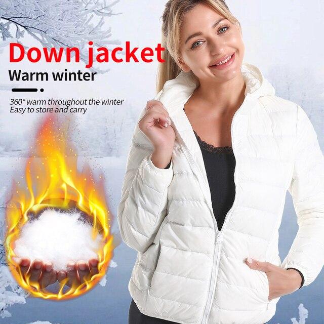 Winter Oversized Women's Ultralight Thin Down Jacket Duck Down Hooded Jackets Long Sleeve Warm puffer jacket parkas woman 2021 5