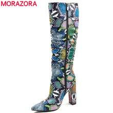 MORAZORA artı boyutu 36 41 avrupa kadın botları yılan suni deri yüksek topuklu diz yüksek çizmeler fermuar bayanlar çizmeler kadın
