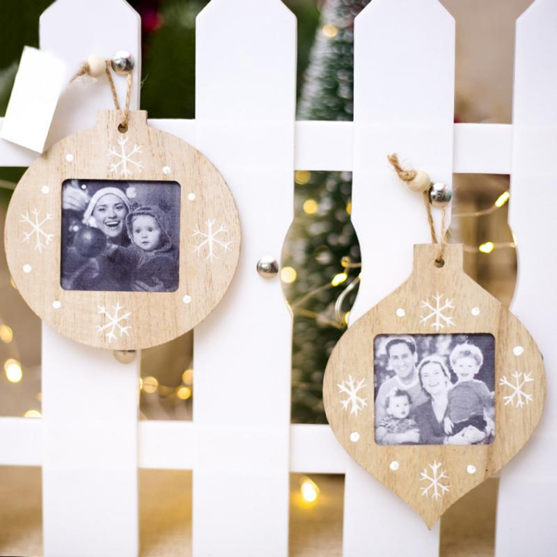 Christmas Photo Frame Ornament Christmas Wooden Photo Frame Pendant DIY Innovative Christmas Decorations Christmas Ornaments