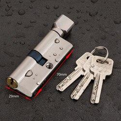 Дверной цилиндрический замок предвзятым 70 мм 3 ключа Анти-кражи вход латунь AB дверного замка безопасности межкомнатных дверей замок для спа...