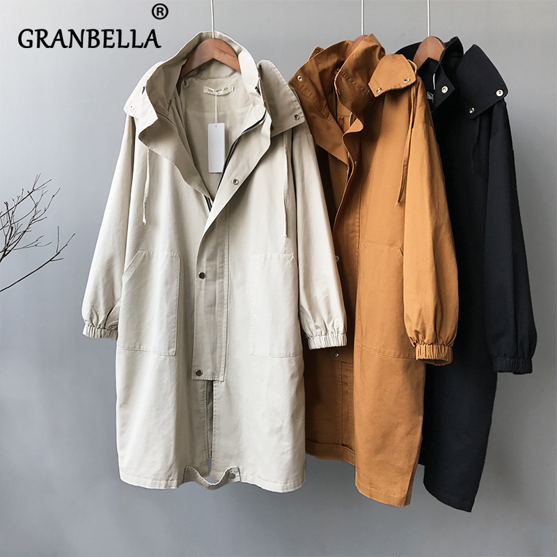 Women Trench Coat Hoodie Autumn Winter New Korean Zipper With Button Casual Chic Windbreaker Woman Coats Trench Outwear