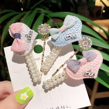 2Pcs/set Metal Hairclip Bow Pearl girls Heart Hairpin For Children Hair Clip Accessorie Styling Tools