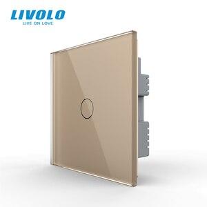 Image 1 - Livolo настенный светильник с сенсорным выключателем, 220 В, черная стеклянная панель, дистанционные беспроводные выключатели, Затемняющая занавеска, управление таймером