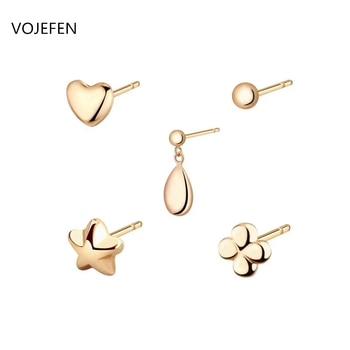 VOJEFEN Minimalist AU750 18K Yellow Gold Stud Earrings--Heart, Flower, Ball, Water Drop, Pentagram Earrings for Women Girls