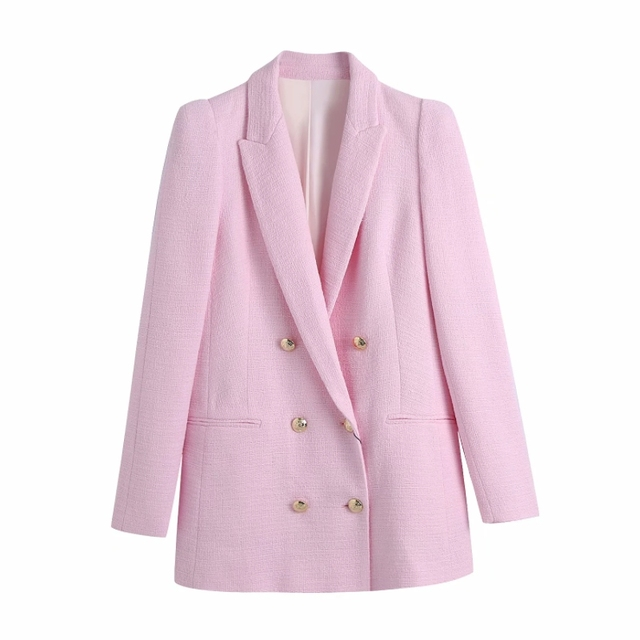 Fashion Women Double Breasted Pink Casual Suit Coat Female Long Sleeve Outerwear Office Lady Loose Tops C1106