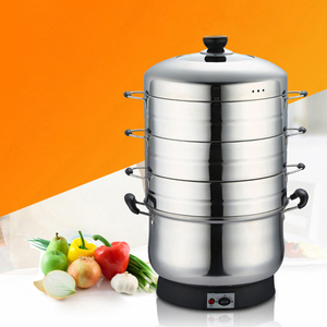 3 Layers Electric Steamer Cooker 28/30/32cm Stainless Steel Steamer Commercial Steaming Pot Multi-function Food Steamer Boiler