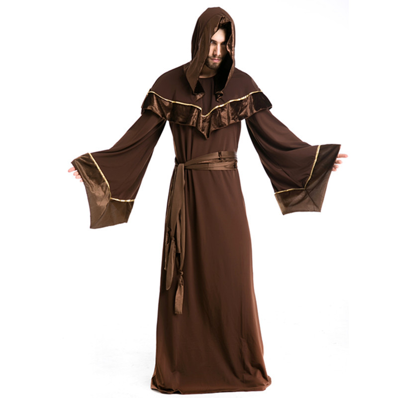 Halloween Men's Clothing Gothic Wizard Service Europe Religious Men's Taoist Character Cosplay Clothes Photo Shoot