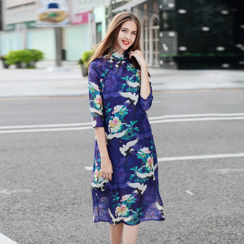 Chinese National Wind Stand Collar Buckle Silk Linene Daily Cheongsam Dress Womens Floral Print Loose Casual Qipao Top