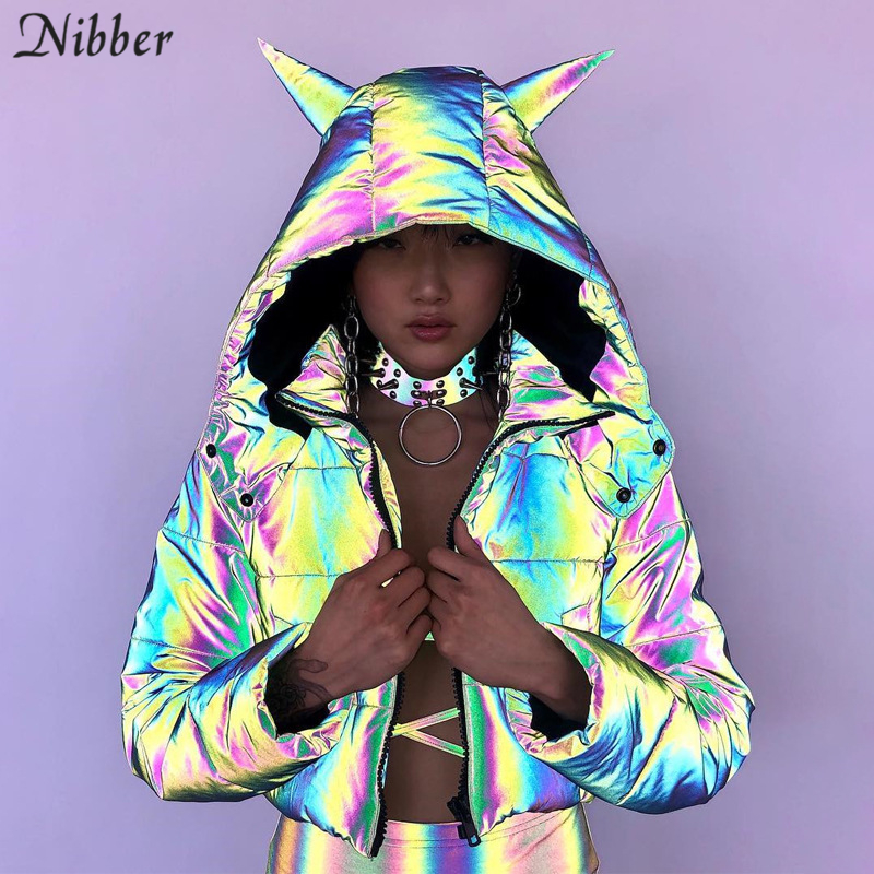 Nibber Winter Rainbow Reflective Warm Jacket Women Coats2019 Fall Winter Hooded Short Jacket Top Mujer Neon Color Leisure Jacket