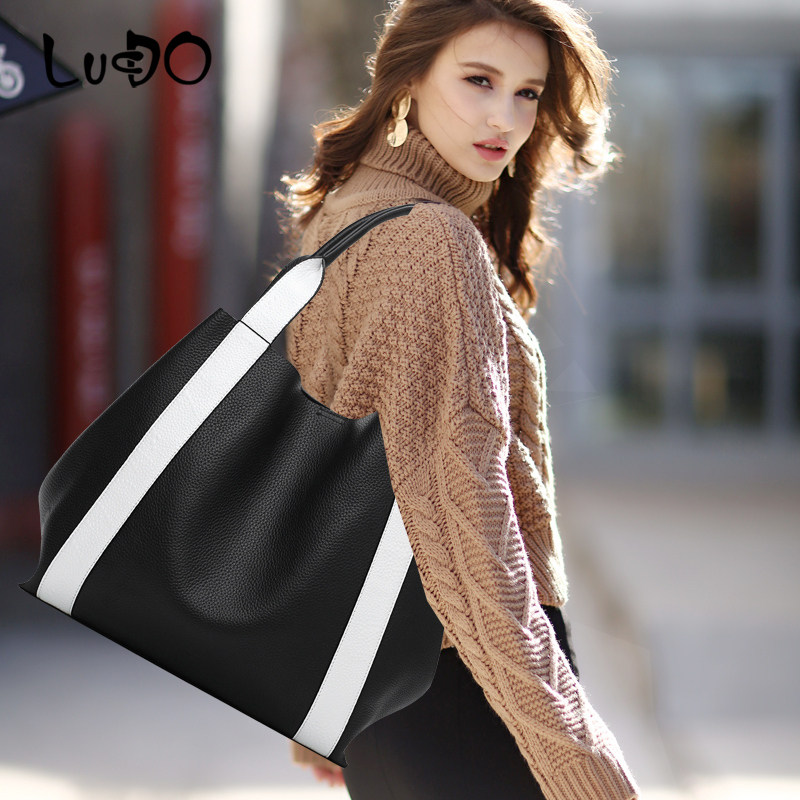LUCDO 2020 Brand Large Capacity Women Bags Classic PU Motorcycle Messenger bags soft casual Leather Crossbody Handbag